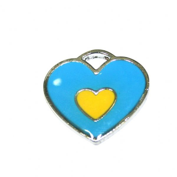 1 x 20*19mm rhodium plated double heart enamel charm - blue with yellow little heart- SD03 - CHE1266